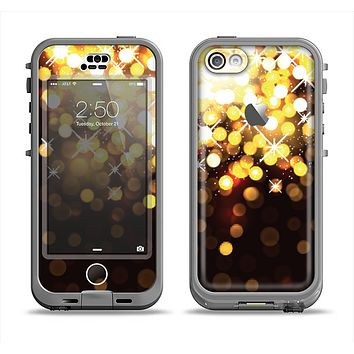 The Gold Unfocused Orbs of Light Apple iPhone 5c LifeProof Nuud Case Skin Set