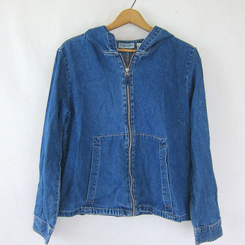 90s jean jacket. thin Hoodie denim jacket. blue hooded shirt coat. Baggy oversized slouchy Loose Simple basic coat. women's size