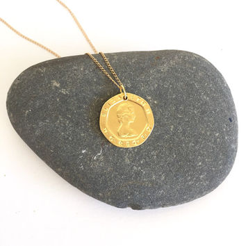 UK Britain Coin Pendant  14k Gold Plated  Necklace #LOVEMYROOTS