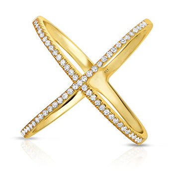 "Sterling Silver Pave CZ Gold-Plated ""X"" Criss Cross Long Ring (Size 8)"