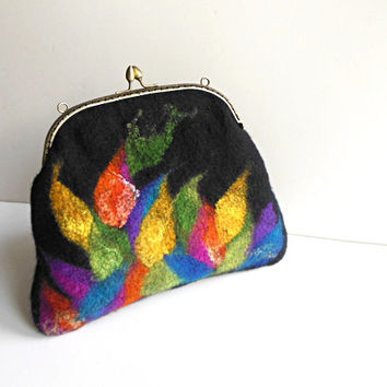 Hand felted bag  black colourfull purse  pouch  metal frame purse, wool felted, black,