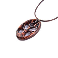 Wooden Pendant, Tree of Life Pendant, Wooden Tree of Life Pendant, Tree of Life Necklace, Hand Carved Pendant, Wood Jewelry, Wood Necklace