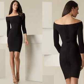 Black celebrity bandage bodycon  dress cocktail club evening party long sleeves