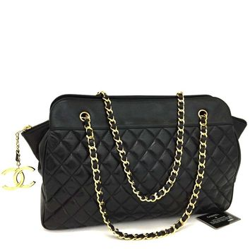 CHANEL Quilted Matelasse Lambskin CC Logo Chain Large Shoulder Tote Bag /e-111