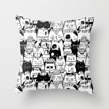 Itty Bitty Kitty Committee Throw Pillow by noondaydesign