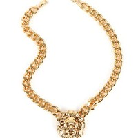 Gold Chain Link Lion Necklace