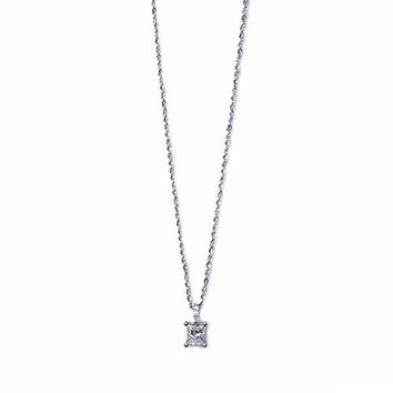 Classic Princess Cut Diamond Solitaire Pendant Necklace - 0.53 carat F/VS2