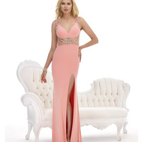 Morrell Maxie 14817 Rose Pink Beaded Open Back Gown Prom 2015