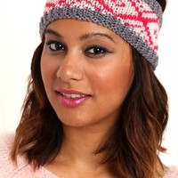 Winter Knit Head Wrap with Diamond Pattern
