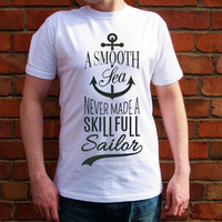 Skillfull Sailor men T-shirt-Anchor Tshirt-motivational-crew neck-men Tshirt-Gift for him