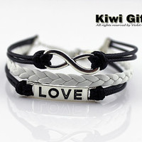 love infinity Bracelet-Charm Bracelet - black Leather Ropes- black and white rope bracelets,Best gifts to friends