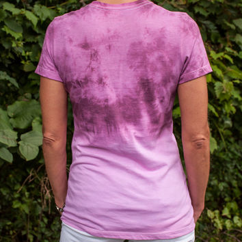 Have Courage and be Kind - Women's Cinderella inspired deep rose dip tie-dyed t-shirt. Disney, Boho