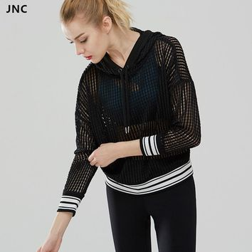 Women Mesh Hoodie Hollow Out Yoga Top Long Sleeve Black Shirts Drawstring Fitness Sports Top Breathable Running Workout Cop Top