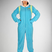Adventure Time 'Finn' Footed Hooded Adult Pajamas