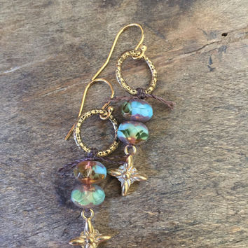 Long Boho Knotted Rustic Blue Gold Cross Dangle Earrings Organic Jewelry by Two Silver Sisters