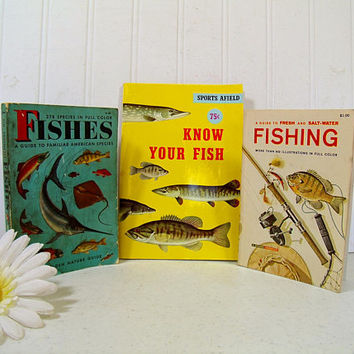 Fishes; Fishing; Know Your Fish Set of 3 Vintage Guide Books to Familiar American Species; Fresh & Salt-Water; Sports Afield Know Your Fish