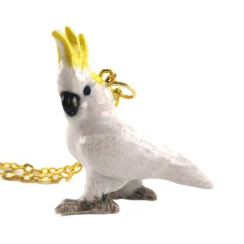 3D Porcelain Cockatoo Parrot Ceramic Pendant Necklace
