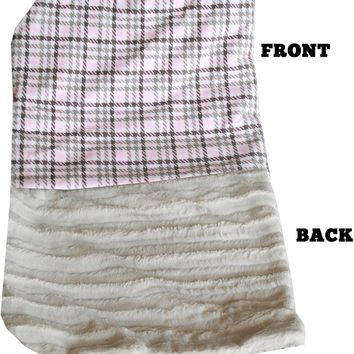 Luxurious Plush Itty Bitty Baby Blanket Pink Plaid