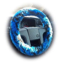 Royal Blue and Black faux fur tiger stripe fuzzy car steering wheel cover fluffy and furry