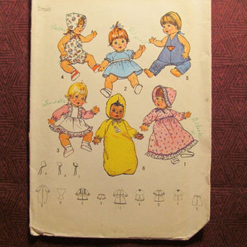 "SALE Uncut 1970's Simplicity Sewing Pattern, 7208! 13""-14"" Doll Clothing/Doll Wardrobe/Dress/Hat/Diaper/Romper/Top/Pants/Bunting/Girls Baby"