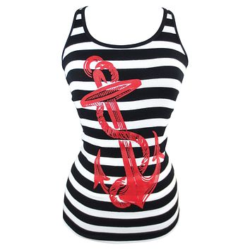 Pinky Star Pinup Sailor Anchor Logo Striped Rib Tank Top