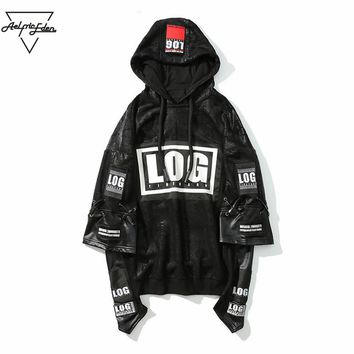 Winter Jacket Hoodie Men Sweatshirts  Leather Stitching Printed Hoodies Rap Male Sweatshirt