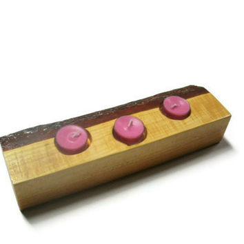 Pink Candle Rustic Wood Candle Holder - Wood Tea Light Candle Holder