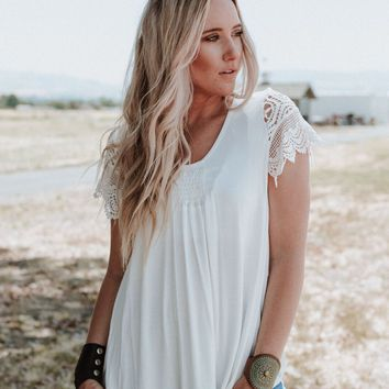 River Rhapsody Lace Shoulder Top