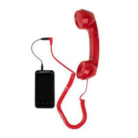 Retro Phone Handset w/3.5mm Input for Mobile Cell Phone/iPhone (Red)