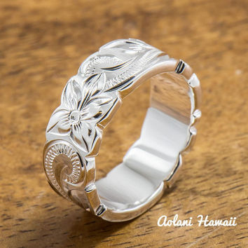 Sterling Silver Ring with Hand engraved Hawaiian Designs (6mm - 8mm width, Flat Cutout style)