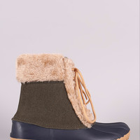 Fur Trim Lace Up Duck Ankle Boots