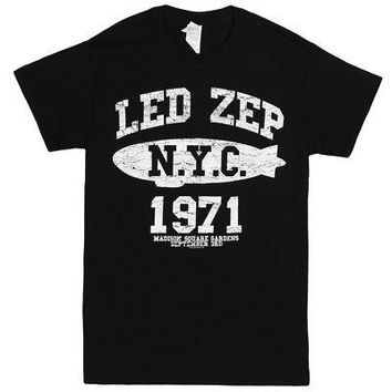 Led Zeppelin Madison Sq Garden NYC 1971 Licensed Adult Unisex T-Shirts - Blue