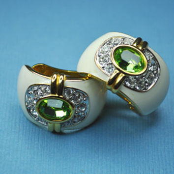 KENNETH J LANE KJL Vintage Gold, White Enamel, Rhinestone and Green Faceted Glass, Chunky Huggie Hoop Clip Earrings, So Gorgeous! #a620