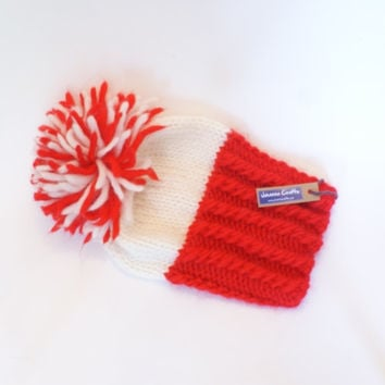 Irish handknit red and white county hat slouchy hats with pompom fun knitted wool hats for women teenagers child chunky yarn