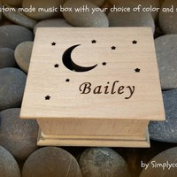 music box, wooden music box, custom music box, moon and stars, personalized music box, music box shop, twinkle twinkle, simplycoolgifts