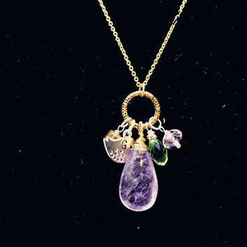 Initial Amethyst Necklace Gold Amethyst Jewelry Stamped Bird Necklace Bridesmaid Necklace Amethyst Crystal Healing Tiny Gold Necklace