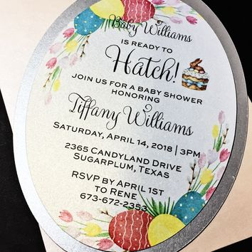 Easter Baby Shower Invitations - Set of 25 About to Hatch Baby Shower Invitations, Spring Baby Shower Invitations