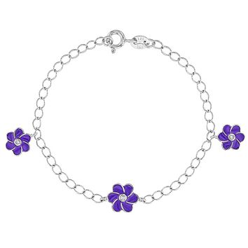 925 Sterling Silver Purple Enamel Flower Charm Link Bracelet for Girls 6""