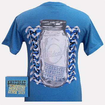 New UK Kentucky Wildcats Preserved Perfection Mason Jar Girlie Bright T Shirt