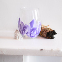 Amethyst Cluster Wine Glass: Amethyst Point Stemless Glass