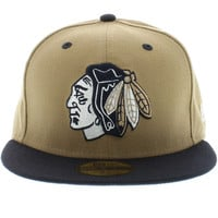 Chicago Blackhawks Khaki & Navy ( Gray Under ) 59fifty New Era Cap New Era Caps, Snapbacks, Bucket Hats, T-Shirts, Streetwear USA Cranium Fitteds