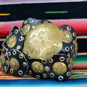 Vintage 80's Moroccan Etched Brass and Black Leather Gypsy Belt