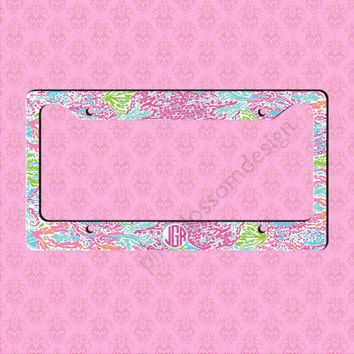 custom license plate frame monogram lilly pulitzer inspired car tag frame personalized car tag