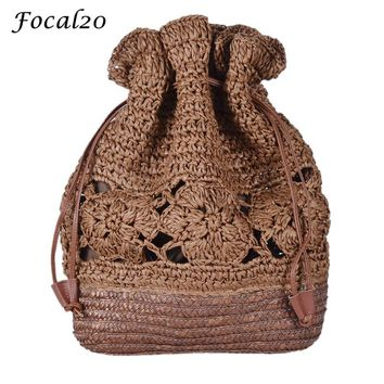 Focal20 Summer Hollow Out Straw Crochet Weave Women Backpack Knitting Draw String Bucket Bags Handmade Women Beach Bag