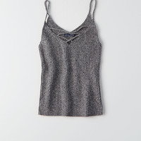 AEO Strappy Ribbed Knit Tank, Stone Gray