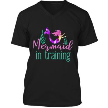 Mermaid In Training Outfit for Girls Kids Women T Shirt Mens Printed V-Neck T
