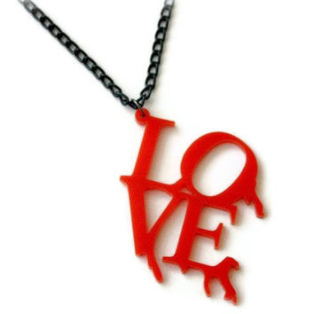 ROCK CHICK Bleeding LOVE necklace by DeathwishDesign on Etsy