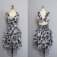 s a l e vintage DARK BLUE floral open back ruffle dress XS S