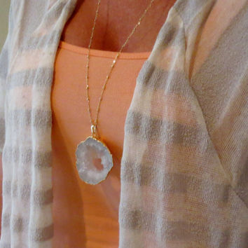 Long White Gold Druzy Necklace, Natural Stone Pendant, White Snow Geode, Layering Jewelry