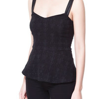 JACQUARD TOP WITH FAUX LEATHER STRAPS - Shirts - TRF | ZARA United States